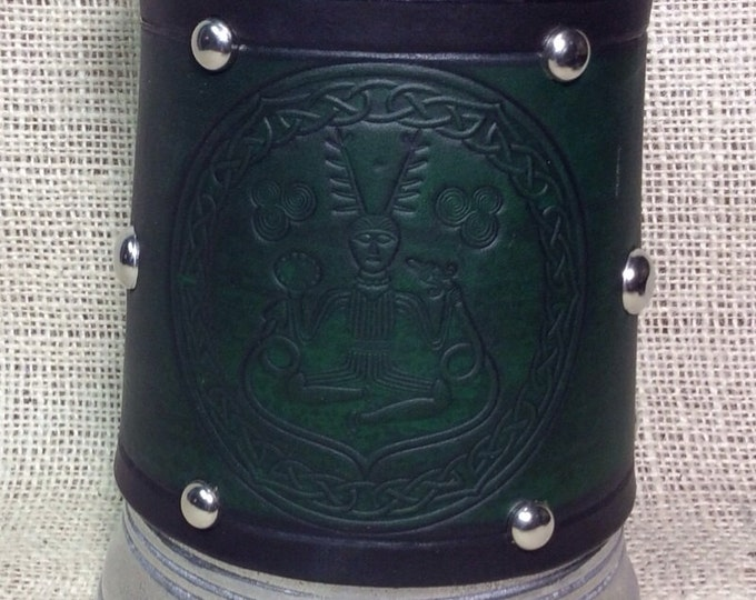 Leather Metal 36 oz tankard mug celtic horned god Cernunos beer ale Scottish Irish