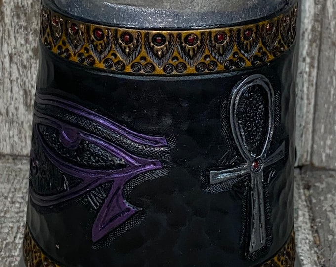 Hand tooled Egyptian mug 16oz