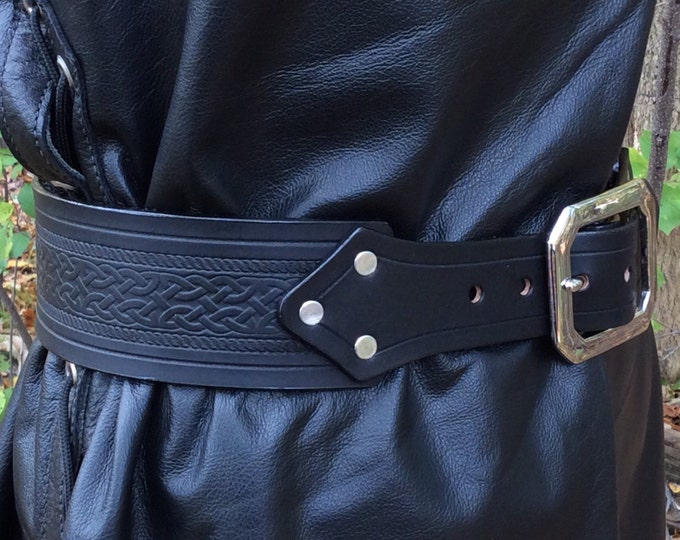 "2-1/2"" kilt belt celtic embossed"
