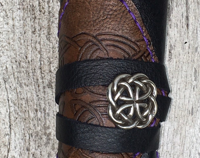 Leather hand stitched purple artist roll with colored pencils celtic drawing art