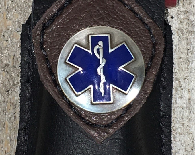 Leather rescue inhaler belt holder with Medical logo