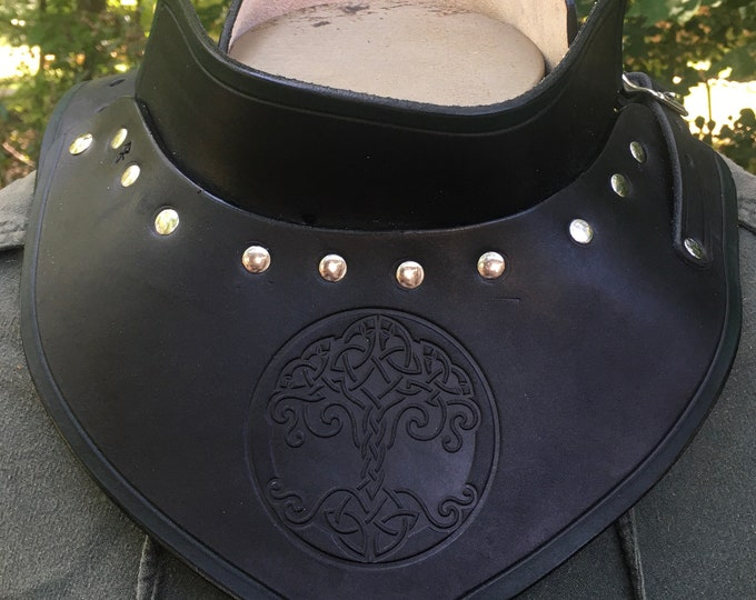 Celtic Tree of Life Leather armor gorget SCA LARP