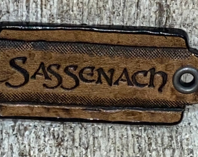 Sassenach Outlander leather Faire pin necklace hang tag