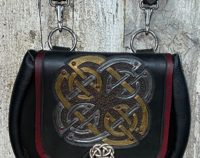 Large Celtic square knotwork hand tooled sporran belt pouch leather