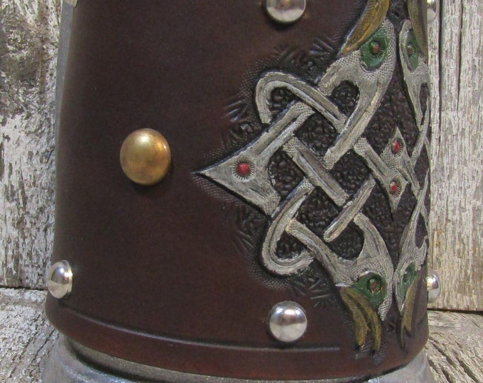 Hand tooled leather covered 16 oz tankard Celtic knotwork birds