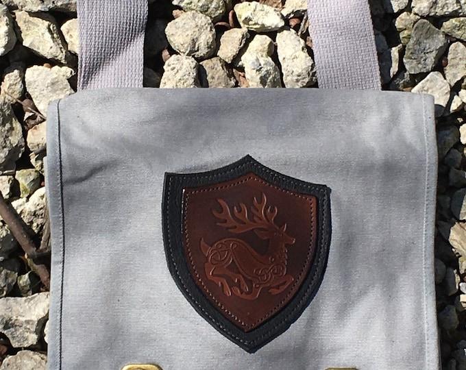 Canvas messenger bag with leather medallion celtic deer stag