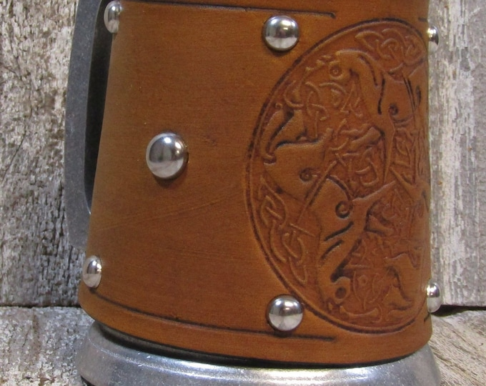 Leather Metal 16 oz tankard beer ale Scottish Irish celtic horses goddess Epona horse