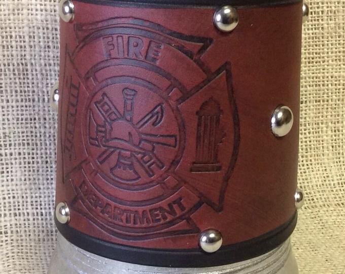 Leather Metal 36 oz tankard firefighter fireman Maltese cross beer ale Scottish celtic Irish