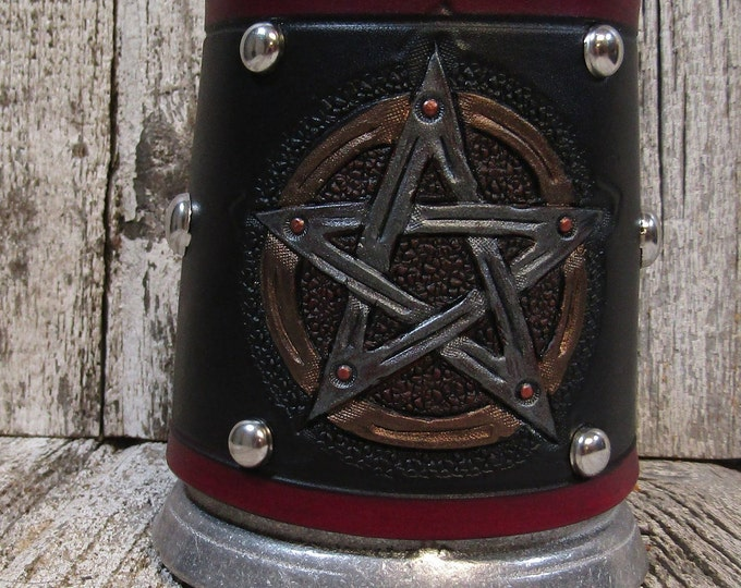 Hand tooled leather covered 16 oz tankard pentacle