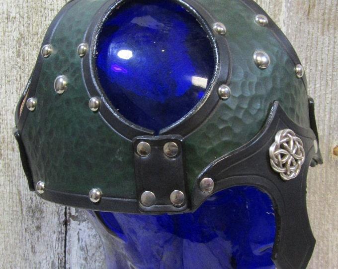 Hand textured leather celtic skullcap helmet