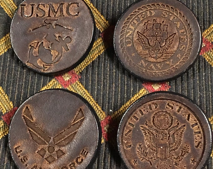 Military pride pins leather