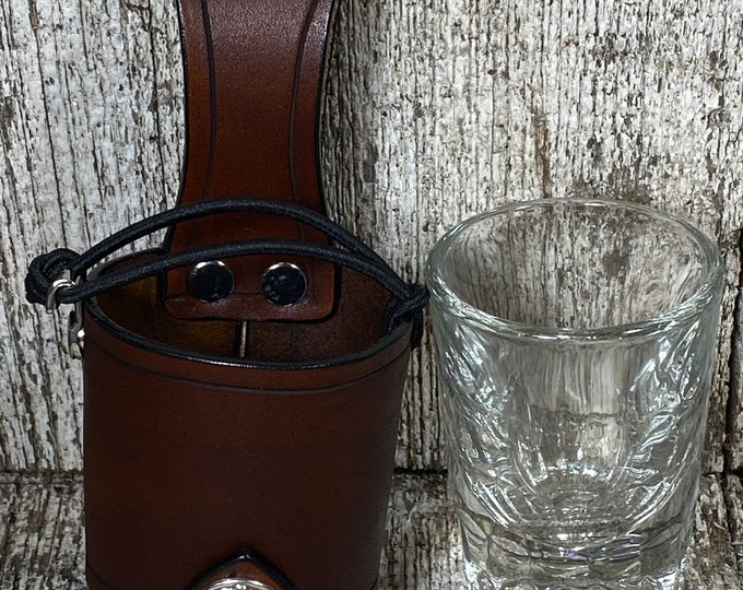 Leather holder with glass shot glass 2oz