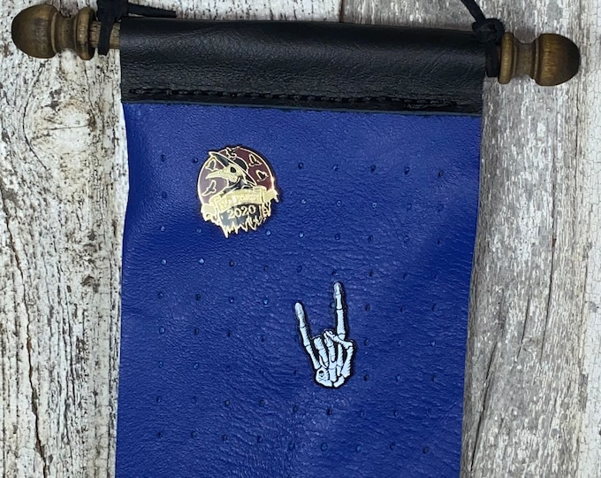 Leather Pin badge holder banner small