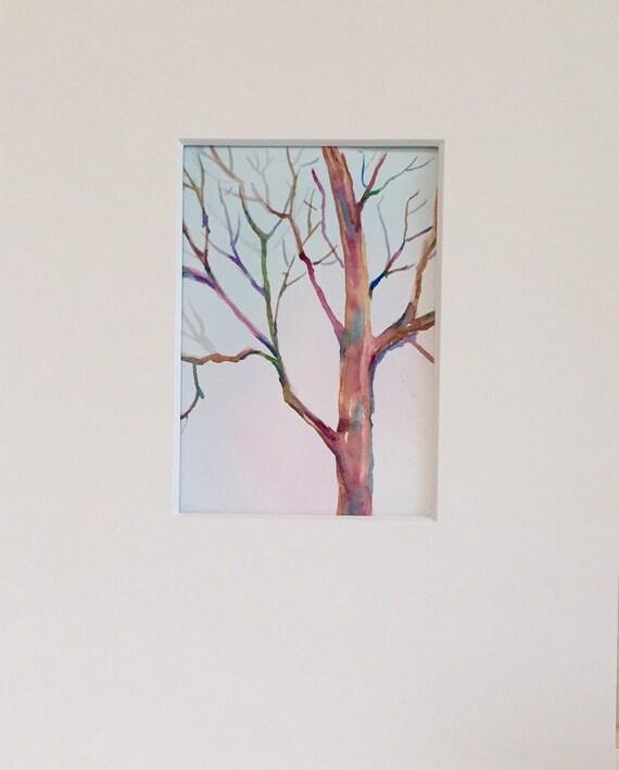 Baum Malen Original Aquarell Art Baum Im Winter Etsy