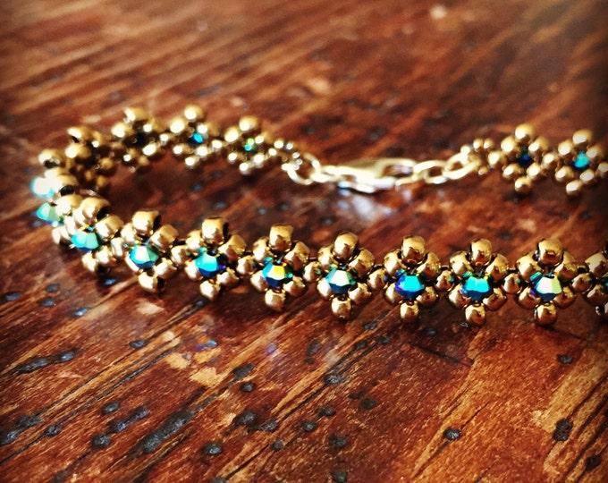 Featured listing image: Bronze & turquoise Swarovski crystal tennis bracelet - diamond design
