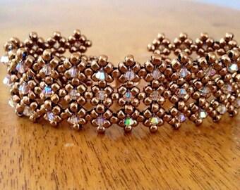 Bronze & crystal beaded cuff bracelet, Swarovski bracelet, gold bead cuff bracelet, sparkly bridal cuff, beadwoven cuff, wedding jewelry EBW