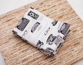 Large Cloth Napkins - Set of 4 - (N9175) - Vintage Inspired Typewriter Phone Reusable Fabric Napkins