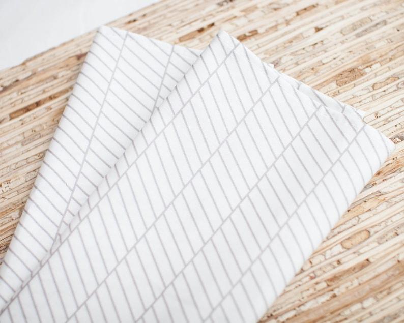 N4376 Set of 4 - - White Broken Herringbone Modern Reusable Fabric Napkins Large Cloth Napkins