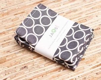 Small Cloth Napkins - Set of 4 - (N314s) - Gray Circle Modern Reusable Fabric Napkins