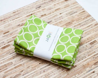 Small Cloth Napkins - Set of 4 - (N315s) - Green Chartreuse Circle Modern Reusable Fabric Napkins