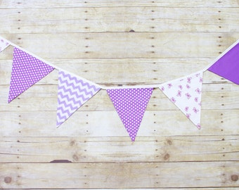Purple Lavender Bunting - Fabric Flag Bunting