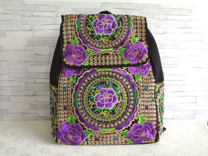 1afb3fd5387b Women Travel Backpack Purse Large Boho Embroidered Backpack