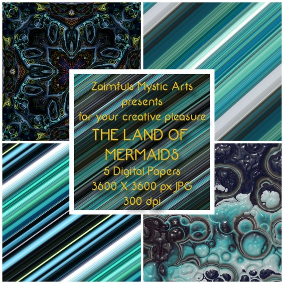The Land Of Mermaids Digital Papers Wallpaper Backgrounds
