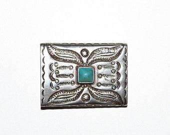 Boucle de ceinture ton argent Vintage fin des années 1990 Turquoise Design  Pierre natif américain Ralph Lauren d84c3d4d619