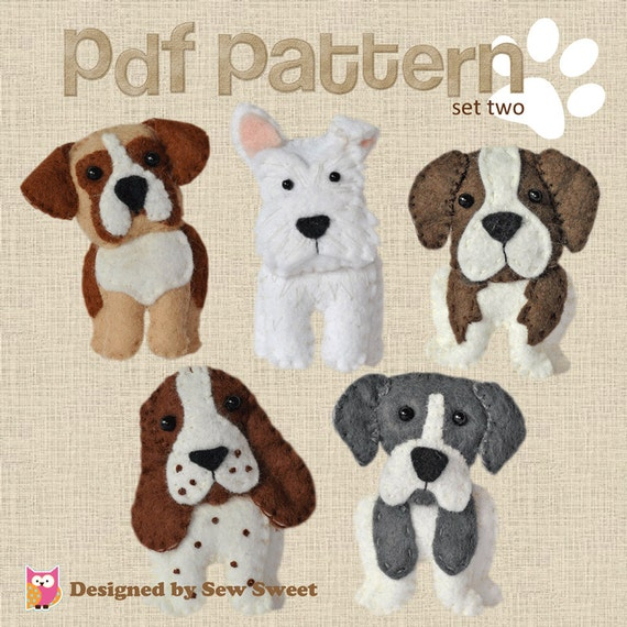 Cute plush Dogs sewing pattern set Two instant download felt | Etsy