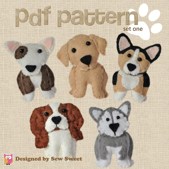 Cute Plush Dogs Sewing Patterns Set One Pdf PATTERN Sew Etsy Delectable Sew Sweet Patterns