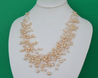 Gorgeous Multistrand Pink Freshwater Pearl Illusion Necklace