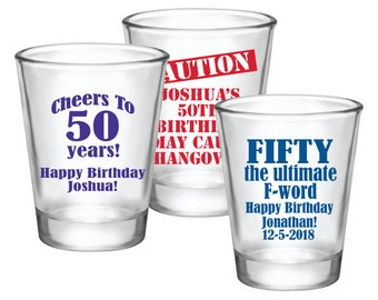 50th Birthday Shot Glasses Party Favors Personalized Cheers To 50 Years