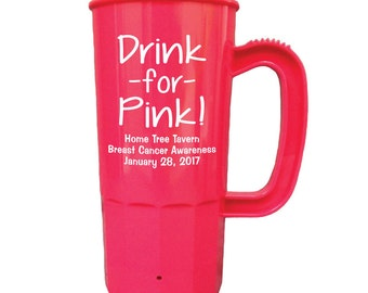 Breast Cancer Awareness Fundraiser - Drink for Pink - 50 Custom Personalized Beer Steins Cups for Breast Cancer Event