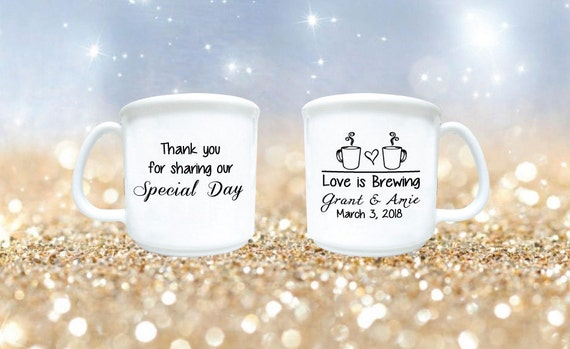 Wedding Favors Wedding Mugs Love Is Brewing Fall Wedding Etsy