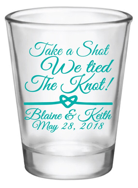 Wedding Favors | 1.75oz Glass Shot Glasses - We Tied The Knot, Now Take A Shot | Heart Rope | Custom / Personalized Wedding Favors