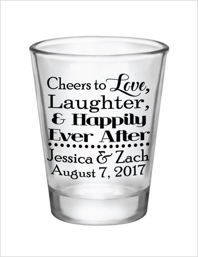 Wedding Favors Shot Glasses Cheers To Love Laughter And Etsy