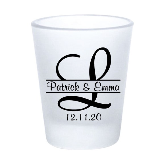 96 Personalized Wedding Favor Shot Glasses: 1.75oz Frosted Glass Wedding Favors || Multiple Designs And Colors To Choose From | NEW For 2018