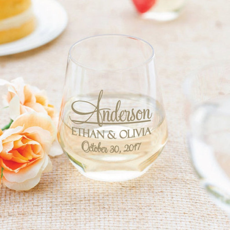 e654746a643 Wedding wine glasses, budget friendly wedding favors, stemless wine  glasses, personalized 12oz plastic stemless wine glasses, 64 pieces