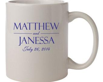 72 Ceramic Coffee Mugs PERSONALIZED Wedding Favors Gifts Vitrified Ceramic
