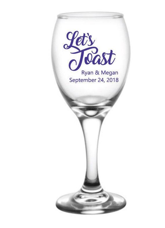 Wedding Wine Glasses Wedding Favors Personalized 9oz Wine Etsy