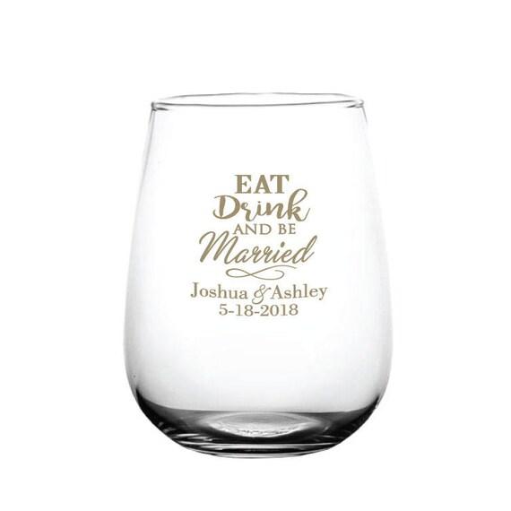 Wedding Wine Glasses Wedding Favors Stemless Wine Glasses Etsy