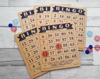 Vintage Bingo Cards - Set of 5 - Dated 1936 - Vintage Paper Ephemera Collage Supply - Altered Art Bingo Cards - Lightweight Chipboard