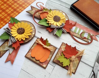 Fall Embellishment Cluster Set - Sunflower Scrapbook Embellishment Kit - Thanksgiving Day Scrapbook Layouts - Autumn Harvest Paper Piecings