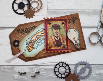 SteamPunk Scrapbook Tag - Layout Embellishment - Nostalgia Scrapbook Accent - Gift Tag - Layouts for Men - Masculine Scrapbook Supplies