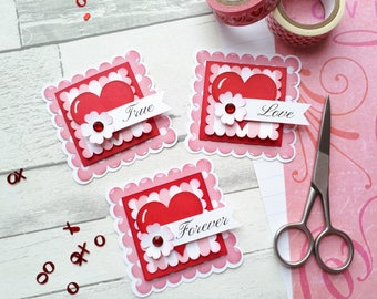 True Love Scrapbook Embellishment Set  - Sweet Heart Paper Piecings - Valentine's Day Scrapbook Layouts - With Love & Hearts -