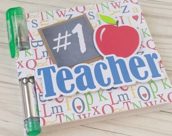 Teacher Gift - Post It Note Holder - #1 Teacher - Appreciation Gift - With Gel Pen and Sticky Notes Pad included - Handmade -