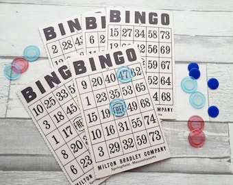 Vintage Bingo Cards - Set of 5 - Milton Bradley - Vintage Paper Ephemera Collage Supply - Altered Art Bingo Cards - Lightweight Chipboard