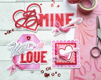 Valentine's Embellishment Cluster Set - Be Mine Scrapbook Embellishment Kit - Valentine's Day Scrapbook Layouts - With Love & Hearts