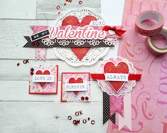 Be My Valentine Embellishment Cluster Set - Valentine's Day Scrapbook Embellishment Kit - Valentine's Day Scrapbook Layouts - Love & Hearts