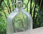 Clear Glass Jug, One Gallon Owens Illinois 1933 Modernistic Two Handle Finger Loops,Wine